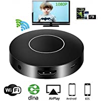 Houkiper WiFi Display Dongle, 1080P Wireless Mini Display Receiver Mirroring Adapter HD AV Dual Output Support DLNA Airplay Miracast for IOS /Android/Windows/Mac/Projector/TV