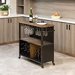 Farmhouse Kitchen FirsTime & Co. Chandler Farmhouse Kitchen Cart, American Crafted, Brown, 31.5 x 12 x 31.5 , farmhouse kitchen islands and carts