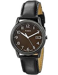 Timex Men's T2N947 South Street Black Leather Strap Watch