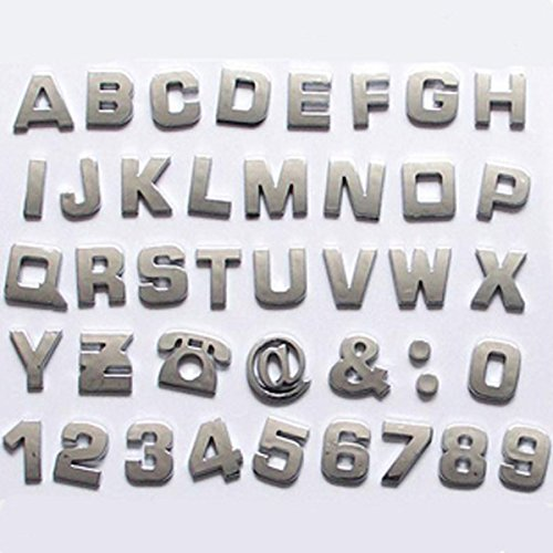 Okeler 1 Set 40 Pcs Silver Car Logo Auto 3D Emblem Badge Sticker Chrome Letters Number with Free Pen Chrome Auto Car Emblem