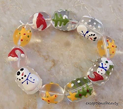 Fiberglass Snowman - Hand Painted Glass Christmas Snowman Tree Star Santa Hat Green Ornament Beads
