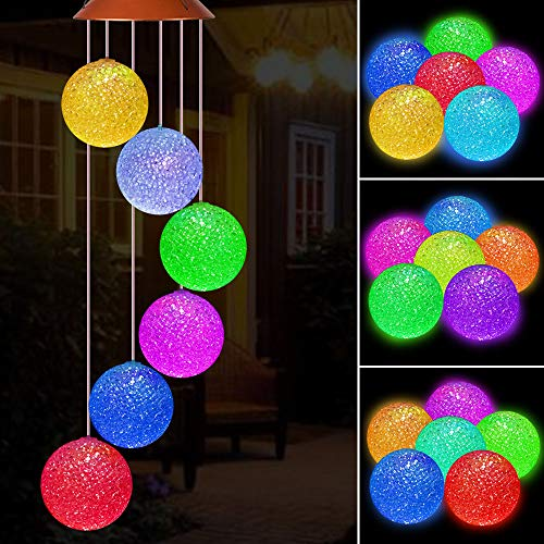 Solar Crystal Ball LED Wind Chimes Outdoor Hanging - Waterproof Mobile Romantic Solar Powered Changing Color Wind Chimes Light for Xmas Mom Gifts