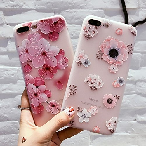For iPhone 7 7Plus 6 6S Plus Case Cover Fashion Silicone 3D Relief Flower TPU Soft Shell Phone Cases Back Covers Fundas Coque (Flower Relief)