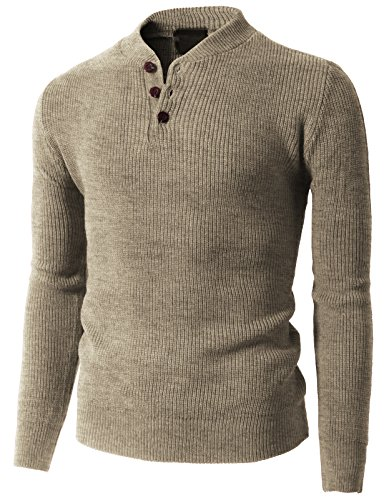 H2H Casual Designed Henley Sweater