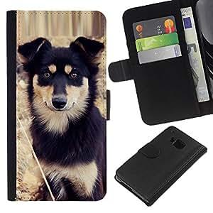 Alaskan Malamute Mastiff Puppy Dog - la tarjeta de Crédito Slots PU Funda de cuero Monedero caso cubierta de piel HTC One M9
