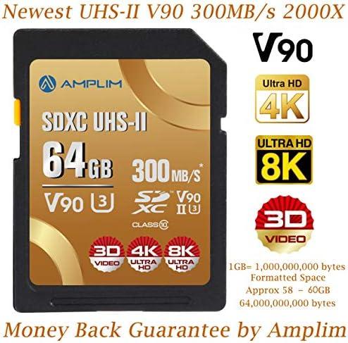 64GB UHS-II V90 SDXC SD Card - Amplim Blazing Fast 300MB/s (2000X) UHSII U3 Extreme High Speed 64 GB SD XC Memory Card for 4K 8K UHD Video Camera ...