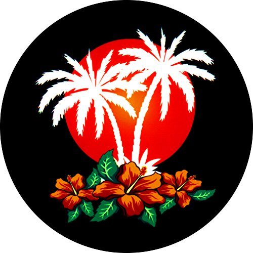 Aloha Palm Trees Sunset Hibiscus Spare Tire Cover 215/70R16 Jeep RV Camper Trailer & More (Select from Popular Sizes in Drop Down menu or Contact us]()