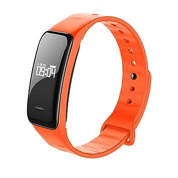 QAR Elegante Pulsera Bluetooth Inteligente Pantalla Horizontal Y Vertical A Prueba De Agua Reloj Inteligente (Color : Orange): Amazon.es: Hogar