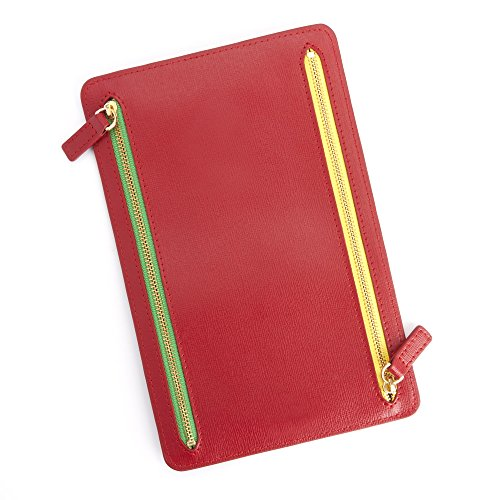 Royce Leather RFID Blocking Zippered Currency and Passport Travel Document Organizer Pouch Red ()