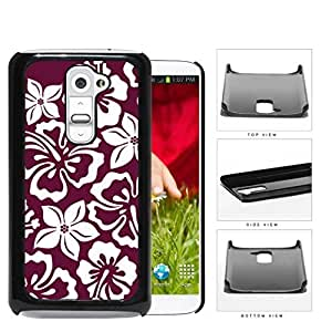 Burgundy Red Hawaiian Floral Pattern Hard Plastic Snap On Cell Phone Case LG G2