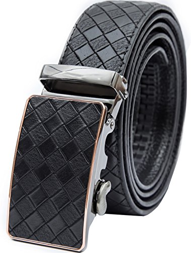 Beltox Fine Men's Ratchet Dress Leather Belt with Automatic Buckle in Gift Box (Waist size 38-40, grid belt with buckle)