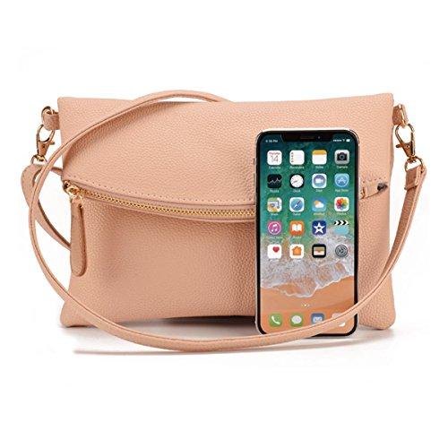 Foldover Women Purse PU Leather Bag Bag Envelope Pink Zipped MEGA Messenger Fashion Shoulder Bag Crossbody Solid 6tqd6YwE