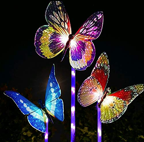 Garden Solar Lights Outdoor,Multi-Color Changing Solar Powered LED Garden Lights,Fiber Optic Butterfly Decorative Lights,outdoor decor,Yard Art,Garden Decorations.(3-Pack)