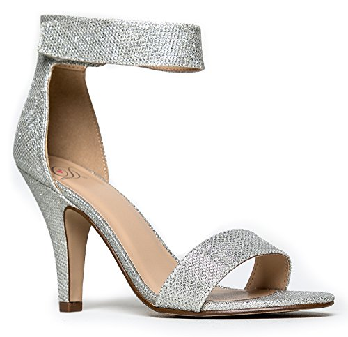Delicious Womens Open Toe High Heel Ankle Strap Dress Sandal Heeled-Sandals,7 B(M) US,Silver Shimmer