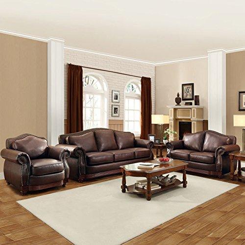 Home Creek Eastman 3-Piece Sofa Set (Leather Living Room Set)