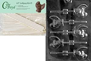 Cybrtrayd 45St25-T012 Small Turkey Lolly Thanksgiving Chocolate Candy Mold with 25-Pack 4.5-Inch Lollipop Sticks