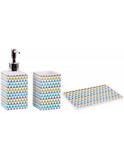 Set baño cerámica. Vaso, jabonera y dosificador de jabón - Modelo Geométrico