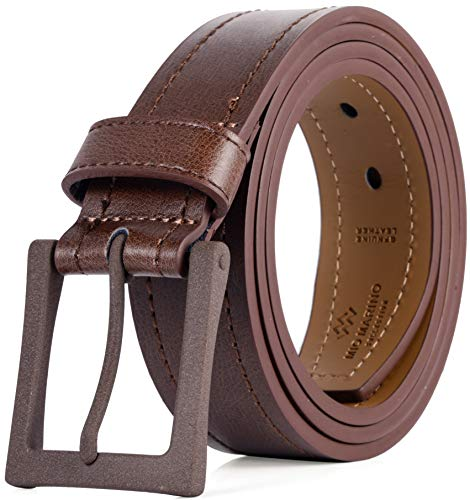 Men's Belt, Genuine Leather Casual Belt, Looks Great with Jeans, Khakis, Dress - With Classic Single Prong Buckle