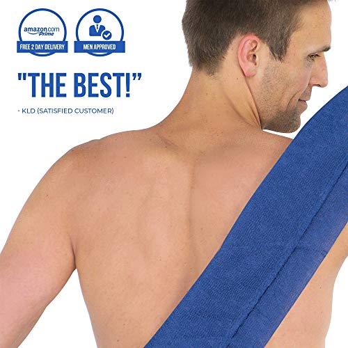 SoapSleeve Exfoliating Loofah Sponge: Long Back Scrubber Shower & Bath Body Lufa for Men & Women| Exfoliating Back Scrubber Loofah To Exfoliate, Rejuvenate & Relax Your Body - NAVY