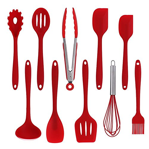 Kitchen Utensil Set Silicone 10 Pcs Nonstick Heat Resistant Durable Cooking Tools With Hygienic Solid Coating Heat Resistant,Red
