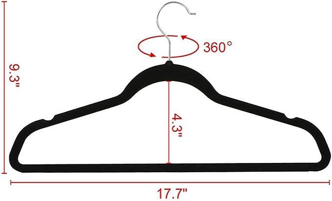 Negro 54 Unidades Gancho Giratorio a 360/° Clothink Perchas de Terciopelo Ahorro de Espacio Antideslizantes