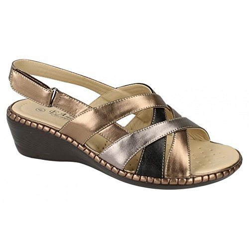 Ladies Eaze Casual Sandals Bronze/Silver xD7iNGP