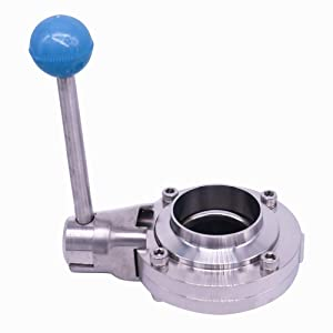 Sanitary Butterfly Valve with Pull Handle Food Grade Stainless Steel 304 Tri Clamp Clover for Food Beverage Dairy Cosmetics Apply US Ship (1.5 Inch)