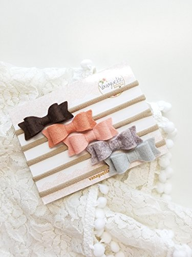 baby headbands Handmade Baby Bows Nylon Headbands Color Palette Collection baby bows baby girl headbands baby hair accessories baby felt headbands by Vanaguelite