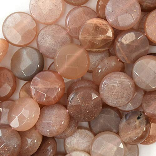 (12mm Faceted Sunstone Coin Beads 15