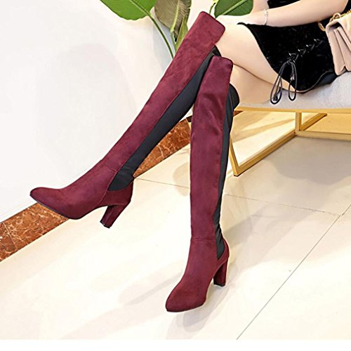 Tefamore Boots Over Heels Women Knee Stretch Red Slim Faux Shoes rHra4q