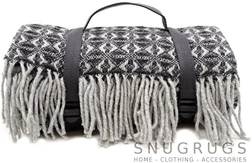 Extra Large, impermeabile, 100% lana Coperta da picnic/Viaggio/Campeggio/Spiaggia Tappeto Mat. Made in UK per bushga–Grigio Antracite