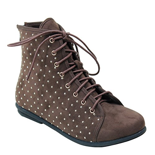 New Brieten Mujeres Polka Dots Lace-up Sneakers Altas De Café