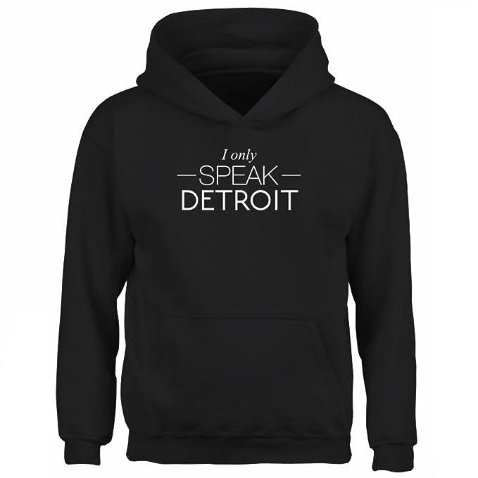 Idakoos I only speak Detroit - Ciudades Usa - Sudadera con capucha para niño: Amazon.es: Ropa y accesorios
