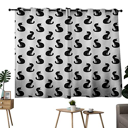 NUOMANAN Customized Curtains Cat,Silhouette of a Kitten Monochrome Feline Pattern House Pet Illustration Halloween,Black White,Thermal Insulated Panels Home Décor Window Draperies for Bedroom 42