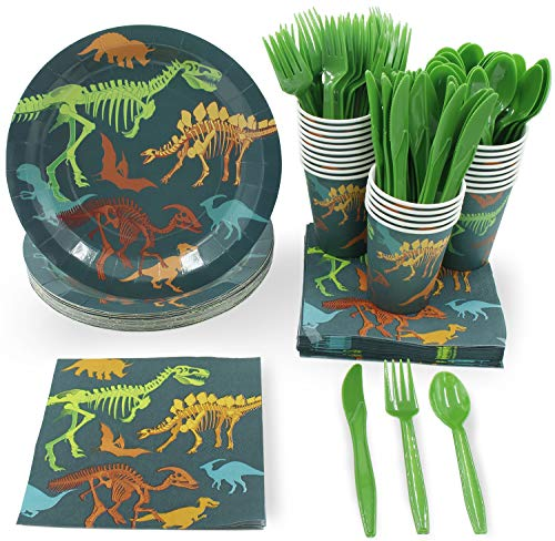 Disposable Dinnerware Set - Serves 24 - Dinosaur Themed Party Supplies for Kids Birthdays, Dino Fossil Skeleton Design, Includes Plastic Knives, Spoons, Forks, Paper Plates, Napkins, Cups -
