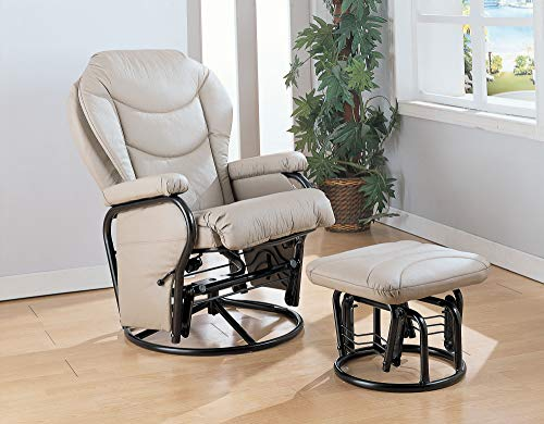 Benzara Leatherette Upholstered Metal Swivel Glider Recliner with Ottoman, Cream and Black