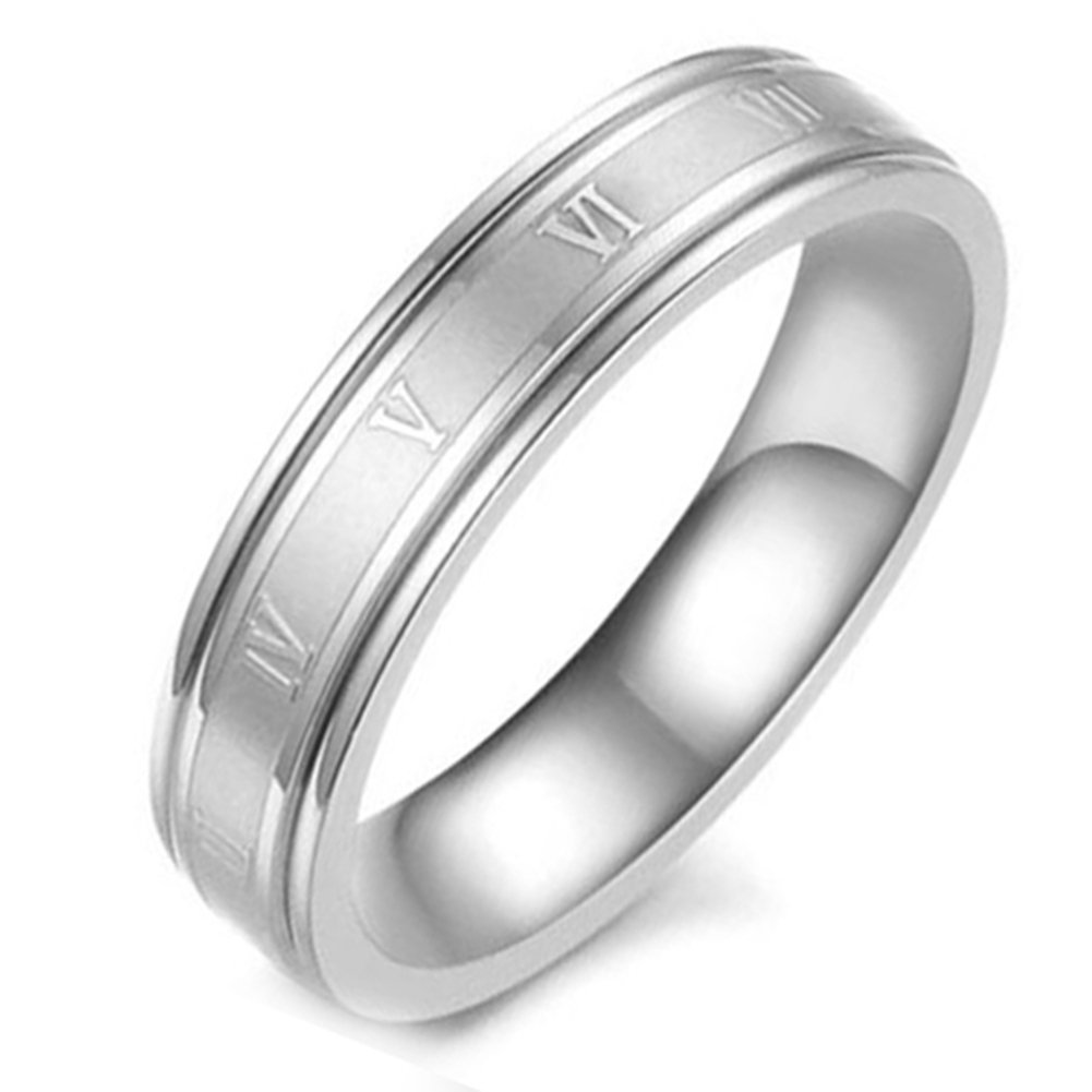 Flongo Men's Women Vintage Stainless Steel Roman Numerals Wedding Band Anniversary Valentine Gift Ring, Size 8