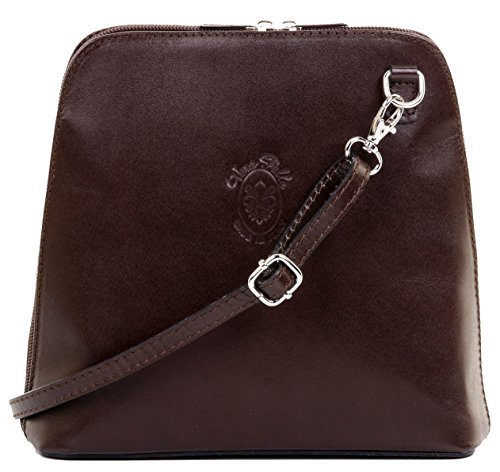 Bag Cross Primo Italian Sacchi Handbag Dark Small Smooth Leather Brown Body Shoulder pqRFqZwS