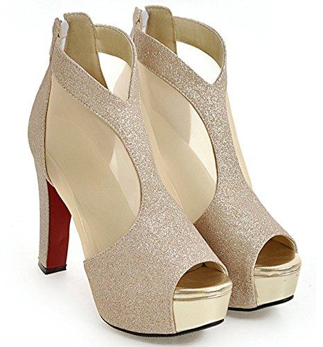 Easemax Womens Sexy Dressy High Chunky Heel Peep Toe Zip Up Mesh Sandals Gold wgiZgoedpn