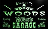 qu1107-g Woods Biker's Garage Motorcycle Repair Beer Neon Bar Sign