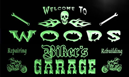 qu1107-g Woods Biker's Garage Motorcycle Repair Beer Neon Bar Sign by AdvPro Name (Image #3)