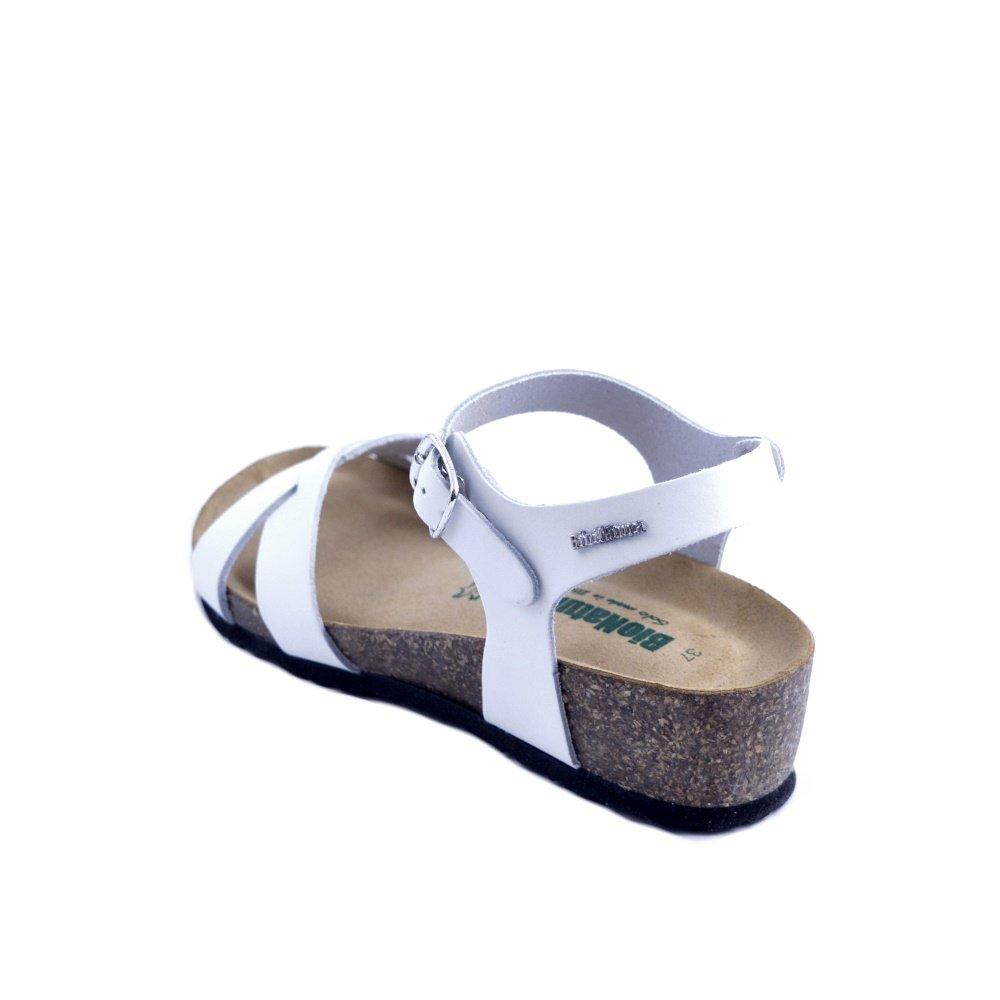 BIO NATURA Bionatura Leder FrauenSandale aus weißem Leder Bionatura mit eingewebten Bändern und Knöchelriemenverschluss. Hergestellt in Italien. Nr. 40 - 7a0ec8