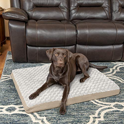 FurHaven Pet Dog Bed | Deluxe Orthopedic Ultra Plush Mattress Pet Bed for Dogs & Cats, Cream, Large