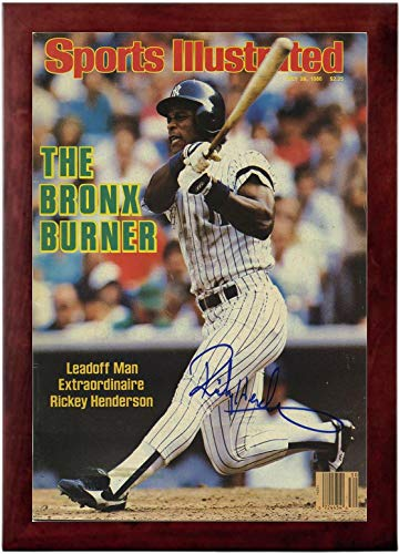 Henderson Autographs (Rickey Henderson Sports Illustrated Autograph Replica Super Print - Bronx Burner - 7/28/1986 - Framed)