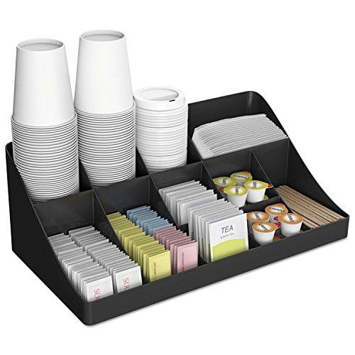 Mind Reader COMORGBLK 11-Compartment Coffee Condiment Organizer 18 1/4 x 6 5/8 x 9 7/8 Black