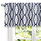 DriftAway Mason Geometric Trellis Pattern Window Curtain Valance, Rod Pocket, 52''x18''+2'' Header (Navy)