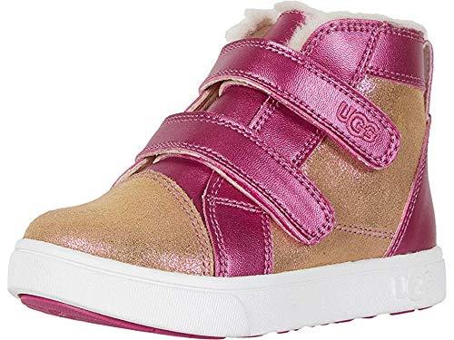 UGG Girls' RENNON II Shimmer Sneaker, Chestnut/Fuchsia, 7 M US Toddler by UGG
