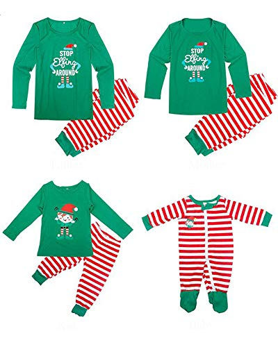 Matching Family Pajamas Christmas Elf Sleepwear Cotton Kids PJ Pants Set (2T/3T, Kid) -