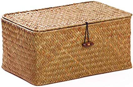 DECRAFTS Cestos Almacenaje Seagrass con Tapa Caja Mimbre Rectangular con Compartimentos Decorativas para Organizar Juguetes de Papel Higi/énico