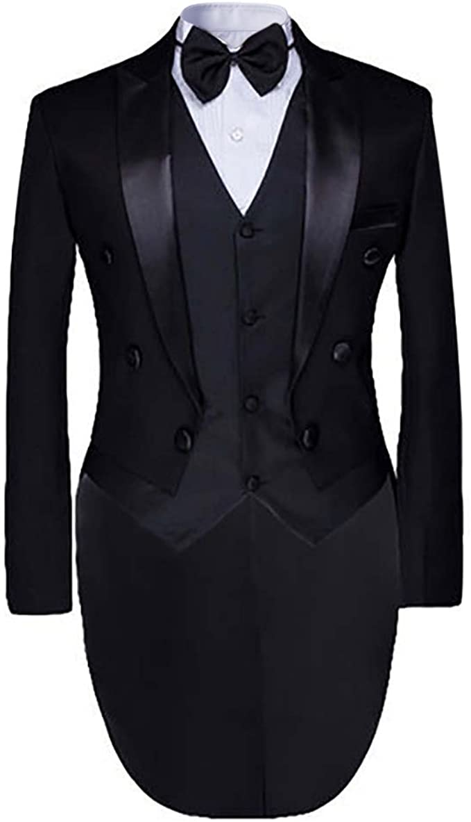 Edwardian Men's Formal Wear Cloudstyle Mens Tailcoat Formal Slim Fit 3-Piece Suit Dinner Jacket Swallow-Tailed Coat $75.99 AT vintagedancer.com